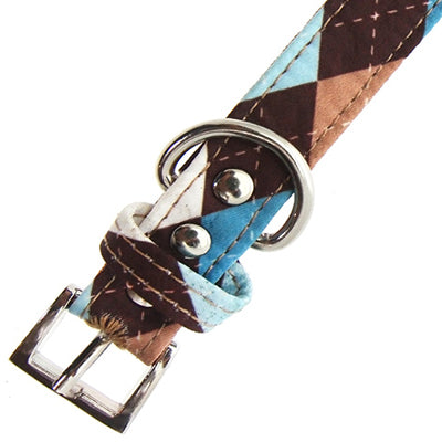 Brown and Aqua Argyle Collar by Urban Pup Chihuahua Clothes and Accessories at My Chi and Me