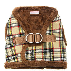 Urban Pup Fur Lined Tartan Chihuahua or Chihuahua Puppy Vest Harness Brown