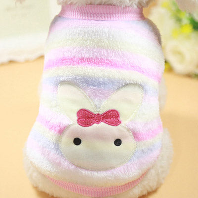Chihuahua Puppy Fluffy Striped Vest with Bunny Motif 6 SIZES Chihuahua Clothes and Accessories at My Chi and Me