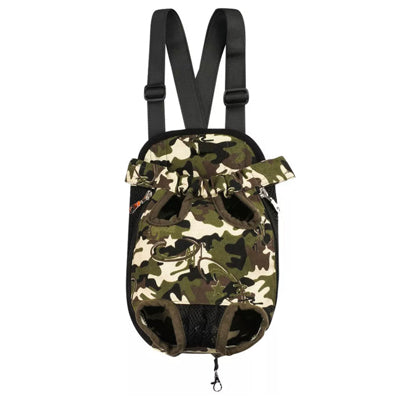 Front Facing Pet Carrier For Puppies And Small Dogs Legs Out Green Camouflage Chihuahua Clothes and Accessories at My Chi and Me
