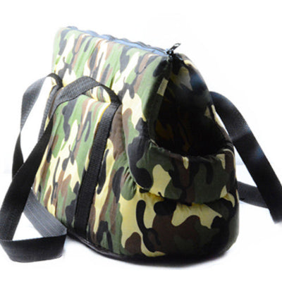Padded Travel Shoulder Bag Green Camouflage Dog Carrier Chihuahua Clothes and Accessories at My Chi and Me