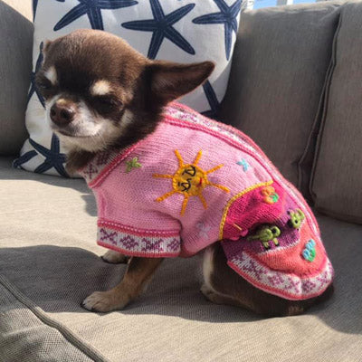 Size 1 Hand Embroidered Peruvian Dog Jumper Candy Pink 19cm Chihuahua Clothes and Accessories at My Chi and Me