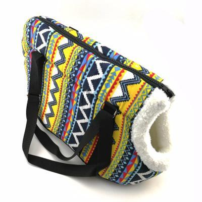 Pet Carrier Padded Faux Sheepskin Lined Travel Shoulder Bag Aztec Design Dog Bag Chihuahua Clothes and Accessories at My Chi and Me