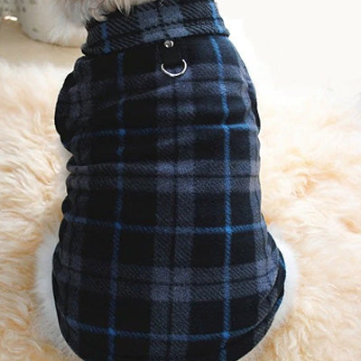 Chihuahua Lightweight Fleece Jumper with D Rings For Leash Black and Grey Check Chihuahua Clothes and Accessories at My Chi and Me