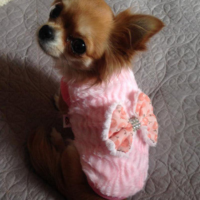 Chihuahua Puppy Fluffy Jumper with White Daisy Chain and Diamante Cherry Print Bow Pink Chihuahua Clothes and Accessories at My Chi and Me