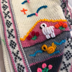 Size 3 Hand Embroidered Peruvian Dog Jumper Cream Pink and Grey 28cm Chihuahua Clothes and Accessories at My Chi and Me