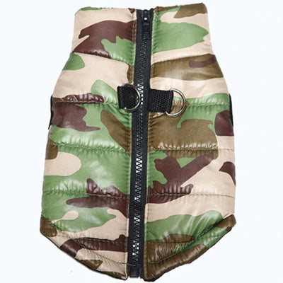 Premium Forest Camouflage Water Resistant Padded Gilet Style Dog Coat Chihuahua Clothes and Accessories at My Chi and Me