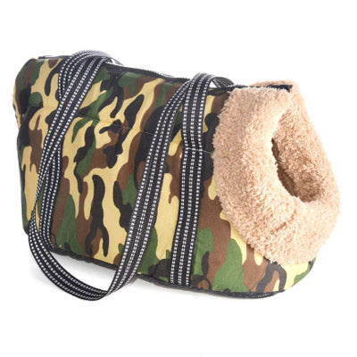 Padded Faux Sheepskin Lined Puppy Or Small Dog Travel Shoulder Bag Green Camouflage Dog Carrier - 2 Sizes Chihuahua Clothes and Accessories at My Chi and Me