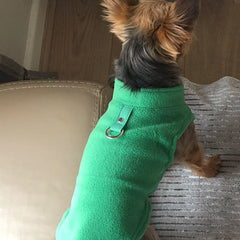 Chihuahua or Small Dog Fleece Jumper with D Rings For Leash Green Chihuahua Clothes and Accessories at My Chi and Me