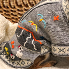 Size 6 Hand Embroidered Peruvian Dog Jumper Light Grey Brights 30cm Chihuahua Clothes and Accessories at My Chi and Me