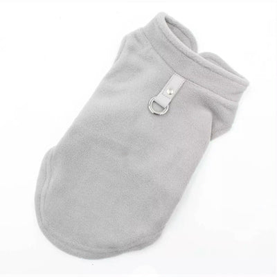 Chihuahua or Small Dog Fleece Jumper with D Rings For Leash Grey - My Chi and Me
