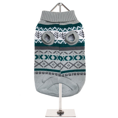 Urban Pup Chihuahua or Small Dog Grey Fair Isle Vintage Jumper - My Chi and Me