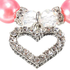 Chihuahua Bling Necklace Small Dog Faux Pearl and Diamante Heart Collar Pink Chihuahua Clothes and Accessories at My Chi and Me