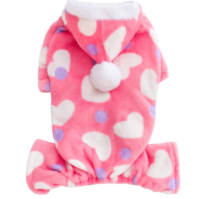 Chihuahua Puppy Fleece Onesie Style Pyjamas With Hood Hearts Print Chihuahua Clothes and Accessories at My Chi and Me