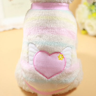 Chihuahua Puppy Fluffy Pink, Lemon, White and Mint striped Vest with Heart Motif