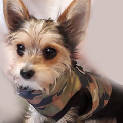 Premium Green Camouflage Gilet Small Dog Coat Chihuahua Clothes and Accessories at My Chi and Me