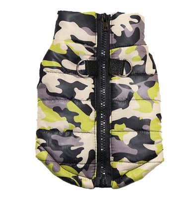 Premium Jungle Camouflage Water Resistant Padded Gilet Style Dog Coat Chihuahua Clothes and Accessories at My Chi and Me