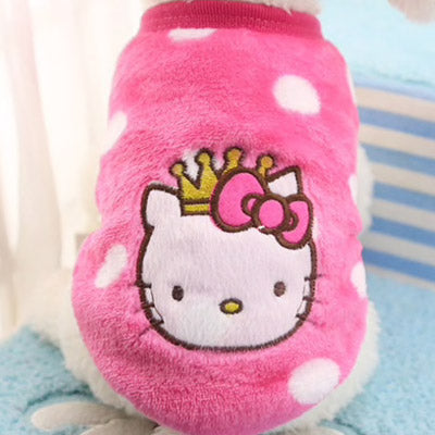 Hello Kitty Small Dog Fluffy Pink Vest White Spots 4 Sizes - My Chi and Me