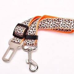 Premium Dog Seat Belt With Clip Leopard Orange Chihuahua Clothes and Accessories at My Chi and Me