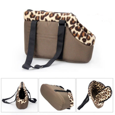Padded Puppy Or Small Dog Travel Shoulder Bag Leopard Lined Dog Carrier