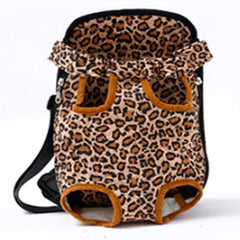 Front Facing Pet Carrier For Puppies And Small Dogs Legs Out Leopard Print Chihuahua Clothes and Accessories at My Chi and Me