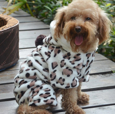 Chihuahua Puppy Fleece Onesie Style Pyjamas With Hood Leopard Print Chihuahua Clothes and Accessories at My Chi and Me