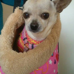 Faux Sheepskin Lined Small Dog Shoulder Bag Pink Hearts Chihuahua Clothes and Accessories at My Chi and Me