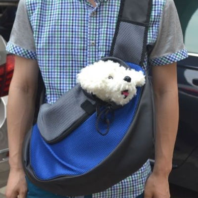 Small Dog Carrier Messenger Style Black Blue & Grey 2 Sizes - My Chi and Me