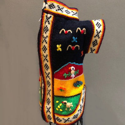 Size 2 Hand Embroidered Peruvian Dog Jumper Midnight Blue Red Yellow and Green 24cm Chihuahua Clothes and Accessories at My Chi and Me