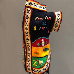 Hand Embroidered Peruvian Dog Jumper Midnight Blue Red Yellow and Green