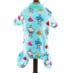 Small Dog  Chihuahua Pyjamas Onesie Style Bunny Print Cotton Aqua Premium Quality - My Chi and Me