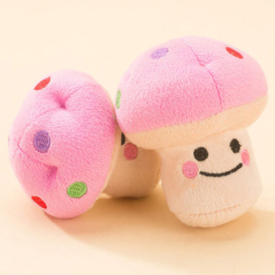 Pink & Cream Mushroom Chihuahua or Small Dog Plush Toy with Squeaker Chihuahua Clothes and Accessories at My Chi and Me
