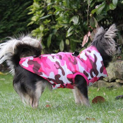 Premium Pink Camouflage Water Resistant Padded Gilet Style Dog Coat