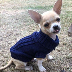 Small Dog Soft Navy Blue Cable Knit Chihuahua Puppy Jumper 5 SIZES Chihuahua Clothes and Accessories at My Chi and Me