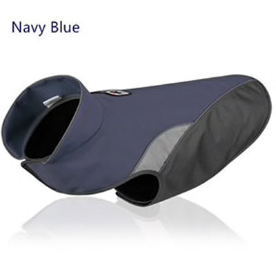 Navy Blue And Grey Waterproof Dog Coat With Reflective Panels And Adjustable Velcro Fastenings