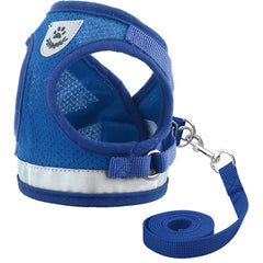 Chihuahua Mesh Reflective Vest Harness and Lead Set Bright Blue