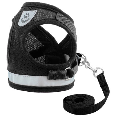 Chihuahua Mesh Reflective Vest Harness and Lead Set Black