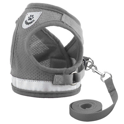 Chihuahua Mesh Reflective Vest Harness and Lead Set Grey