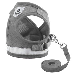 Small Dog Vest Harness and Lead Set Grey Mesh Reflective Chihuahua Clothes and Accessories at My Chi and Me