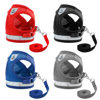 Chihuahua Mesh Reflective Vest Harness and Lead Set 4 Colours