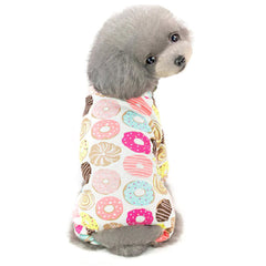 Chihuahua Small Dog Pyjamas Onesie Style Donuts Print White Cotton Chihuahua Clothes and Accessories at My Chi and Me