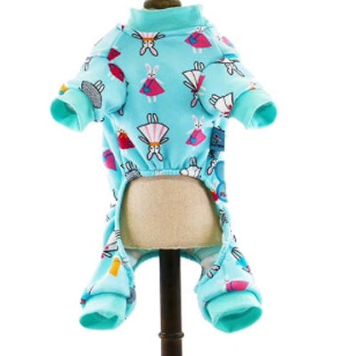 Chihuahua Puppies and Small Chihuahua Pyjamas Onesie Style Bunny Print Cotton Aqua Chihuahua Clothes and Accessories at My Chi and Me