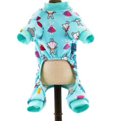Small Dog  Chihuahua Pyjamas Onesie Style Bunny Print Cotton Aqua Premium Quality Chihuahua Clothes and Accessories at My Chi and Me