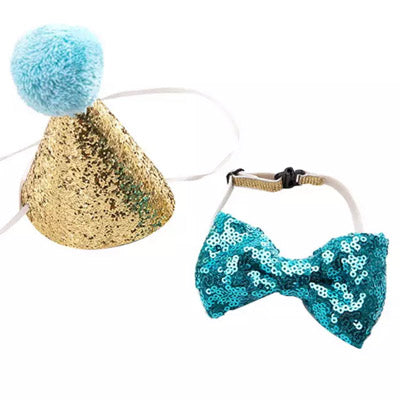 Party Hat & Bow Tie Set for Small Dogs 4 COLOURS Chihuahua Clothes and Accessories at My Chi and Me