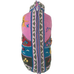 Size 2 Hand Embroidered Peruvian Dog Jumper Pink/Grey Edge 25cm Chihuahua Clothes and Accessories at My Chi and Me