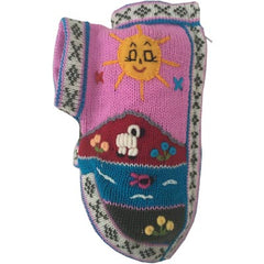 Size 2 Hand Embroidered Peruvian Dog Jumper Pink/Grey Edge 25cm