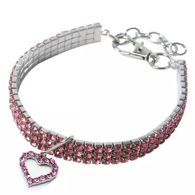 Premium Chihuahua Bling Necklace Small Dog Faux Crystal Collar 3 SIZES Pink Chihuahua Clothes and Accessories at My Chi and Me