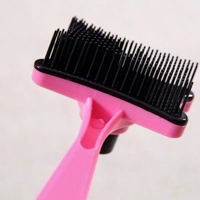 Chihuahua Grooming Brush with Hair Release Button Pink