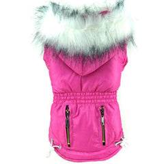 Slim Fit Designer Fuchsia Pink Parka Small Dog Coat Chihuahua Clothes and Accessories at My Chi and Me