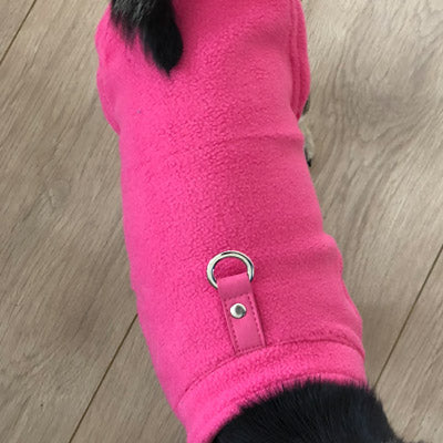 Chihuahua or Small Dog Fleece Jumper with D Rings For Leash Pink